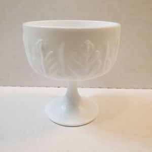 FTD MILK GLASS DISH LEAF PATTERN